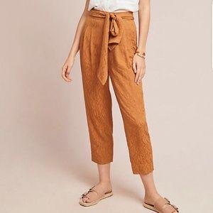 Anthropologie Ett Twa Gold Copper Crop Trousers